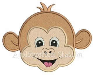 Zoo Baby Head Monkey Applique Machine Embroidery Design Boy Girl Cute Jungle Safari animal INSTANT DOWNLOAD