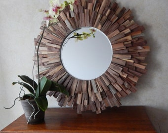 "27"" Natural Reclaimed Walnut Wood Sunburst Mirror, MADE to ORDER"
