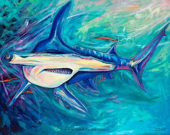 Hammerhead Shark-Giclee by Jen Callahan Canvas Wrap