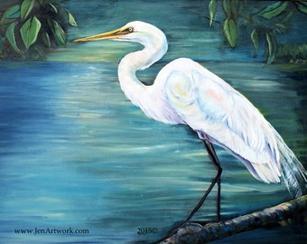 White Egret Oil-Art by Jen Callahan Tile,Cuttingboard,Paper Print