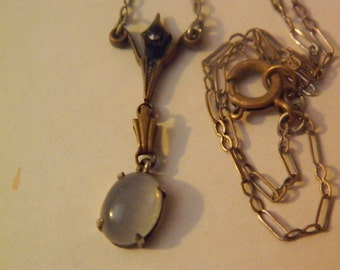 Victorian moonstone silver necklace wedding necklace vintage
