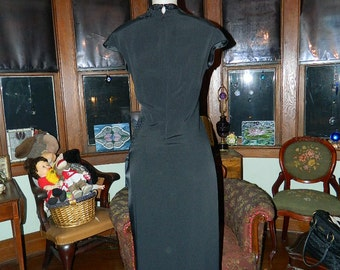 Vintage dress Asian sequined black fitted dress