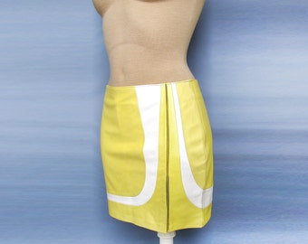 Womens Super Sexy Mini 100% Leather Skirt Yellow and white very cute dress