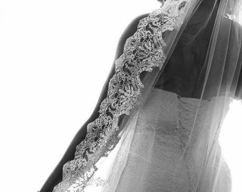 Cathedral alencon lace with silver sequins wedding veil, white or  diamond white, 9 feet long, elegant, vintage