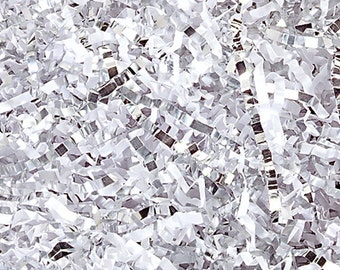 Crinkle Cut Paper Shred- Basket Filler- White/Silver Mix