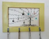 SALE Windswept Willow Tree Frame Art - Handmade Jewelry Key Scarf Hanger Organizer Distressed Yellow - READY SHIP