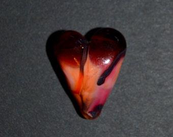 Heart-On-Fire Glass Heart Bead