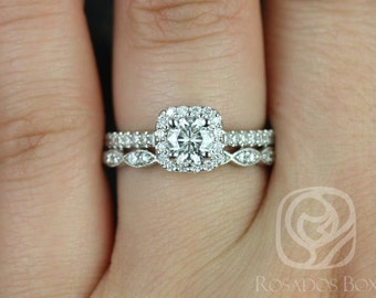 Mikena 5mm & Christie 14kt White Gold Round F1- Moissanite and Diamonds Cushion Halo Wedding Set (Other metals and stone options available)