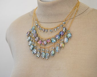 Multi layer bib necklace Statement big bold chunky necklace Multistrand green glass bead dangle Triple three strand Bling jewelry