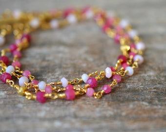 Delicate ruby bracelet Pink opal bracelet Ombre pink gemstone Multi layer rosary chain bracelet Multistrand bracelet July October birthstone