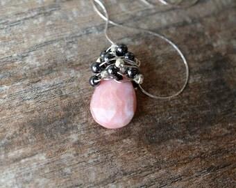 Peruvian opal necklace Pink opal teardrop pendant Wire wrapped gemstone pendant Grey semi precious stone cluster October birthstone