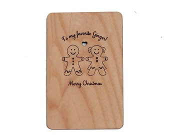 Gingerbread Couple Christmas Laser-Cut and Etched on Wood Card