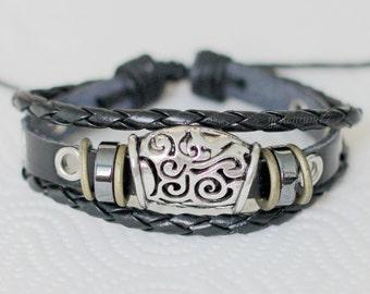 278 Men's black leather bracelet Rings bracelet Charm bracelet Braided bracelet Woven bracelet Men jewelry bracelet Gift For men & boy