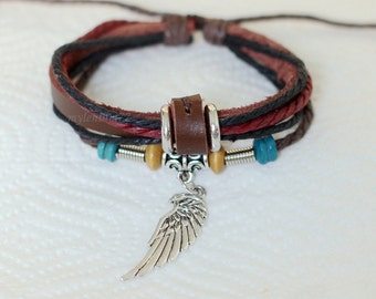 638 Brown leather bracelet Angel wing bracelet Charm bracelet Women bracelet men Beads Ropes bracelet Leather jewelry For men and women