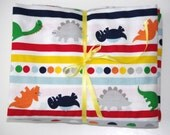 Crib Sheet - Dinosaur Fitted Cotton for Baby or Toddler - Orange Blue Primary Dinosaurs on White