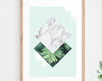 Printable Wall Art Geometric Marble Instant Download Mint Green Tropical Leaves Ferns Geometric Contemporary Wall Art Printable Poster Mint
