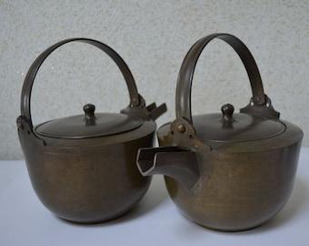 Pair of vintage bronze  sake warmers, Japanese choshi, bronze kettles