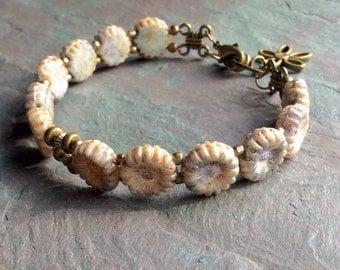 """Cream Czech Glass Bracelet / One-of-a-Kind / Sunflower Beads / Flower Beads / Flower Charm / Antique Brass Beads -  7 3/4"""" long - B56"""