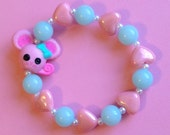 Lalaloopsy Pink Mouse Stretch Bracelet with Pastel Pearl Hearts and Mint Blue Beads