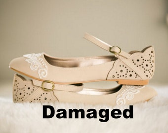 Damaged (picture 2 depicts damages) - Stone Ballet Flats, Wedding Flats, Bridal flats, Wedding Shoes with Ivory Lace. US Size 6