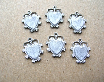 Vintage Heart Charms - Heart Charm Lot - Shabby Chic Heart Charm - Vintage Charm Lot - White Metal Heart - Flat Back Charm - Valentines Day