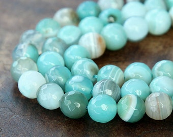 Faceted Dyed Agate Beads, Aqua Blue Striped, 10mm Round - 15 inch strand - eGR-AG58118-10
