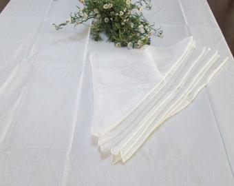 Damask white tablecloth,  10  napkins ,vintage floral damask wedding tablecloth with napkins vintage linens damask imported linens