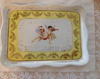 Antique dresser tray vintage cherub porcelain jewelry tray antique shabby chic angel porcelain bedroom decor yellow gold distressed cherubs