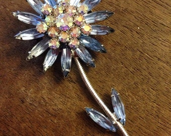 Sale Beautiful Vintage Blue Rhinestone Silver Flower Pin/Brooch