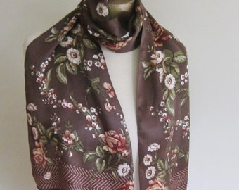 Floral silk scarf, brown long scarf, autumn floral scarf, vintage silk scarf, chocolate brown, silk hair wrap, ladies neck tie,