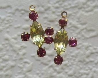 Crystal Jonquil Fuschia  5 Multi Stone Rhinestone Navette 20MM Brass Drop