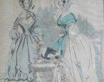 Antique Victorian Fashion  / Framed / 19th Century / Women and Child / Antebellum