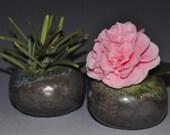 One miniature ceramic vase, green copper pebble-like bud vase , Holidays  gift, wedding gift