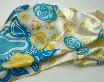 Vera Floral Yellow Turquoise Silk Scarf 1970s