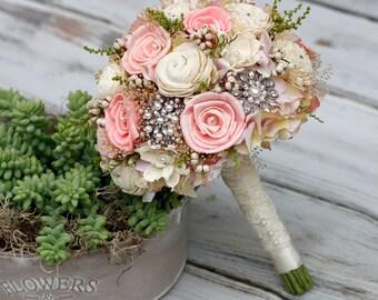 Sola Bridal Bouquet.Vintage inspired, Brooches,Swarovski crystals,Pearls,Baby's Breath,Tallow Berries,Destination wedding,Keep sake