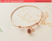 Rose Gold Bracelet, Personalized initial bangle bracelet, Pine cone Bracelet, adjustable bangle, family, friendship, Bridesmaid Gift