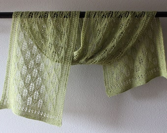 Victorian lace shawl, beautifully hand knitted in a sage alpaca & silk blend