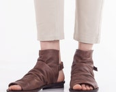 Brown boot sandals, Closed sandals, Boot sandals, Flat leather shoes, Brown open toe sandals