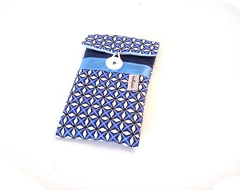phone case blue graphic fabric , padded case for iphone , glasses case  geometric fabric