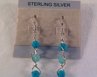Blue Earrings- Swarovski Crystals- Aqua Earrings- Sterling Silver- Wire Wrapped- Dangle- Carribean Blue Opal