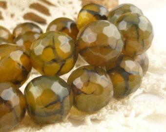 10mm Yellow Dragon Vein Agate Round Beads (6)