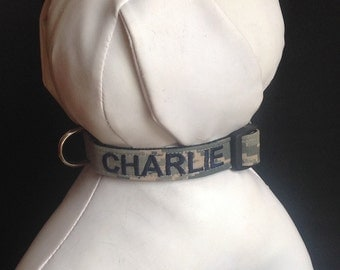 Military Dog Collar Emroidered  With Your Dogs Name - Available In Army, Navy, Air Force And Marines - Size XS, S, M, L, XL.