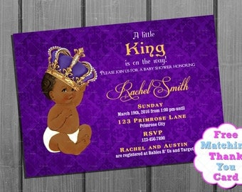 thank you card royal baby boy shower invitation purple and gold invite