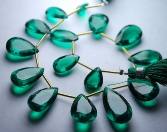 8 inches --Very Very Finest --Emerald Green Quartz Faceted Cut Stone Briolettes -Size 20-13mm Approx