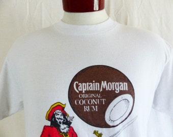 Go Coconut! vintage 80's Captain Morgan's Original Coconut Rum white graphic t-shirt pirate mascot back front logo print advertising Large