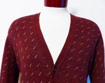 vintage 80's Robert Bruce heather burgundy wine red grey white diagonal line pattern acrylic rayon knit cardigan sweater medium made in usa