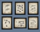 Revolver Gun Patent Prints Set of 6 - Revolver Patents - Gift Idea for Gun Enthusiast - Hand Gun - Vintage Gun Patent - Weapon Pistol #001