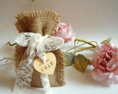 85 Burlap Bags,Rustic favor bags with personalised heart tags,Rustic eco friendly bags