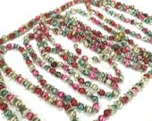 VINTAGE CHRISTMAS GARLAND - Glass Bead Beaded - Teal Pink Green - Fancy Silver - Oblong - Foil