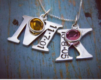 Letter and Date Necklace, Large, Sterling Silver, Two Letter Initial, Custom, Hand Stamped, Personalized Mother Necklace, with Birthstones